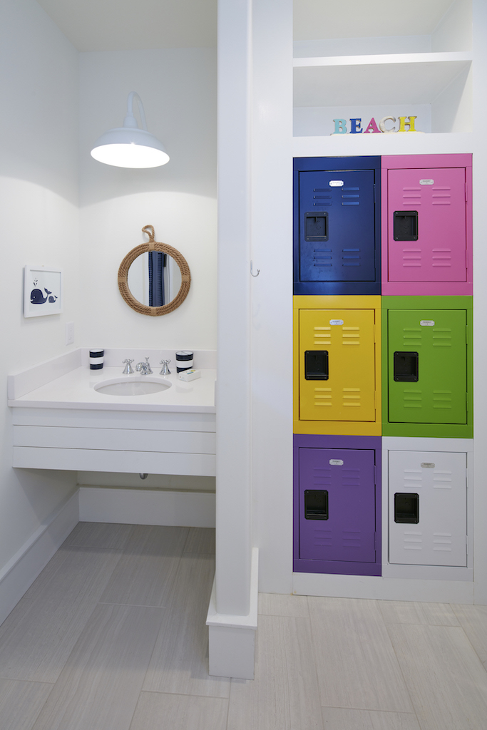 The Big Easy lockers in bathroom in bright colors